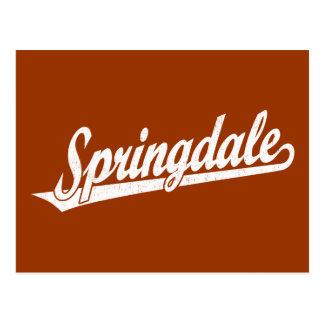 Springdale script logo in white distressed postcard
