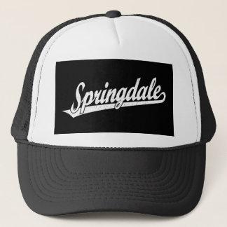 Springdale script logo in white distressed trucker hat
