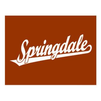 Springdale script logo in white postcard