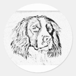 Springer spaniel classic round sticker
