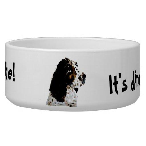 Springer Spaniel Dog Art Pet Food Bowl