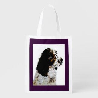 Springer Spaniel Dog Art Reusable Grocery Bag