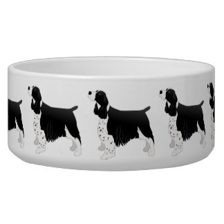 Springer Spaniel Dog Basic Breed Silhouette Black Bowl