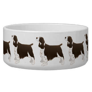 Springer Spaniel Dog Basic Breed Silhouette Brown Bowl