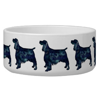 Springer Spaniel Dog Black Watercolor Silhouette Bowl