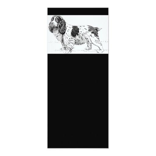 Springer Spaniel Dog Drawing 4x9.25 Paper Invitation Card