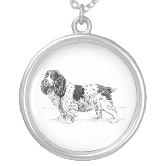 Springer Spaniel Dog Drawing Silver Plated Necklace