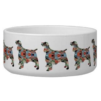 Springer Spaniel Dog Geometric Silhouette Plaid Bowl