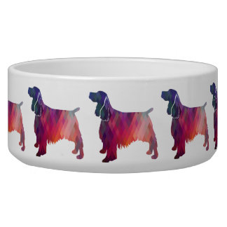 Springer Spaniel Dog Geometric Silhouette Purple Bowl