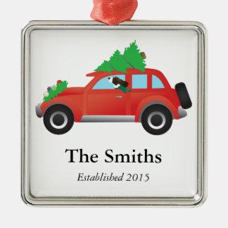 Springer Spaniel Driving car w/ Christmas Tree Square Metal Christmas Ornament