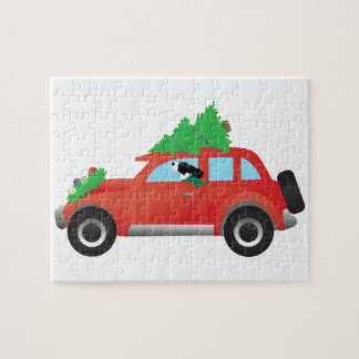 Springer Spaniel driving car with Christmas tree Puzzle