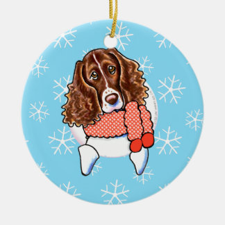 Springer Spaniel Let it Snow Double-Sided Ceramic Round Christmas Ornament