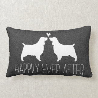 Springer Spaniel Silhouettes with Heart and Text Pillow