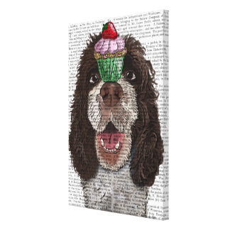 Springer Spaniel with Cupcake Canvas Print