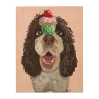 Springer Spaniel with Cupcake Wood Wall Art