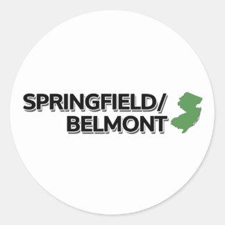 Springfield/Belmont, New Jersey Classic Round Sticker