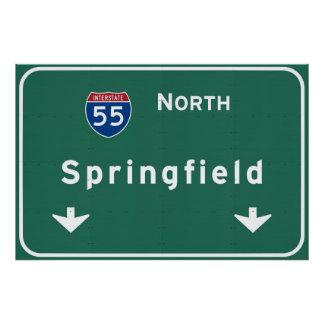 Springfield Illinois Interstate Highway Freeway : Poster