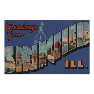 Springfield, Illinois - Large Letter Scenes Poster