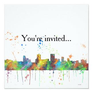 SPRINGFIELD, ILLINOIS SKYLINE 5.25X5.25 SQUARE PAPER INVITATION CARD