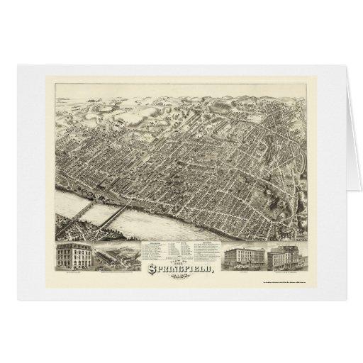Springfield, MA Panoramic Map - 1875 Card