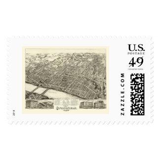 Springfield, MA Panoramic Map - 1875 Postage Stamp