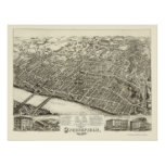 Springfield, MA Panoramic Map - 1875 Poster