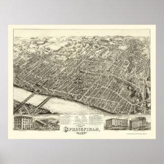 Springfield, mapa panorámico del mA - 1875 Póster