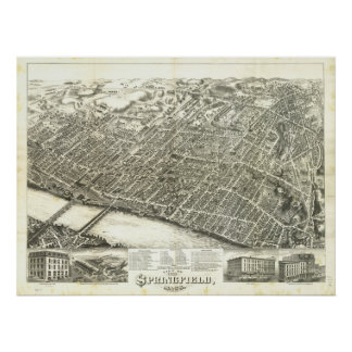 Springfield Massachusetts 1875 Antique Panorama Poster