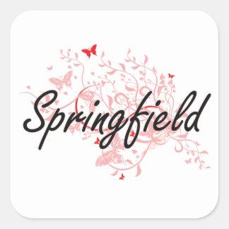 Springfield Massachusetts City Artistic design wit Square Sticker