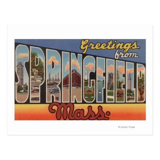 Springfield, Massachusetts - letra grande Tarjeta Postal