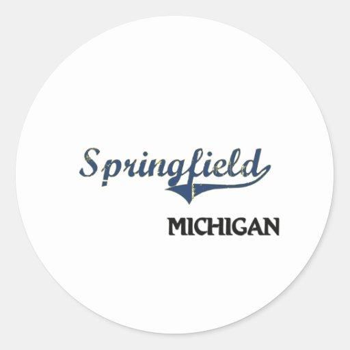 Springfield Michigan City Classic Round Stickers