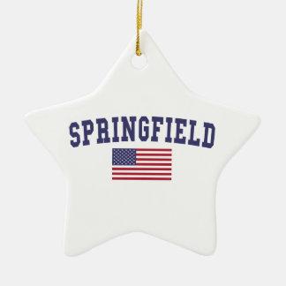 Springfield OR US Flag Ceramic Ornament
