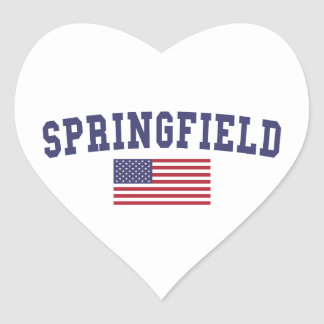 Springfield OR US Flag Heart Sticker