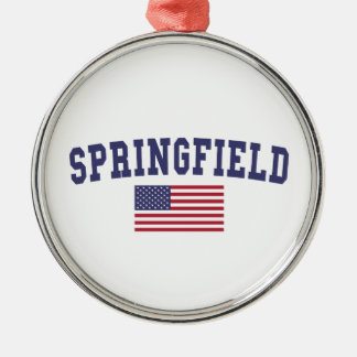 Springfield OR US Flag Metal Ornament