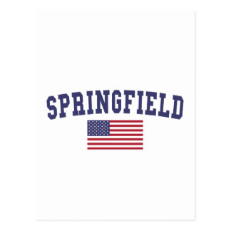 Springfield OR US Flag Postcard