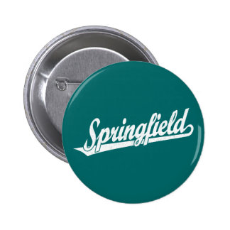Springfield script logo in white distressed pinback button