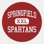 Springfield - Spartans - High School secundaria - Etiquetas Redondas