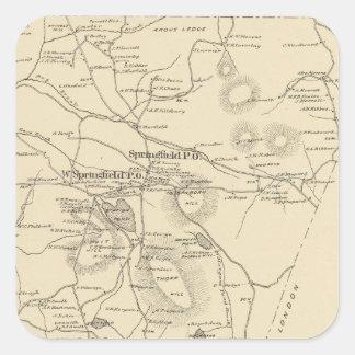 Springfield, Sullivan Co Pegatina Cuadrada