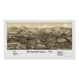 Springfield, VT Panoramic Map - 1886 Posters