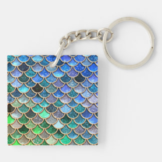 Springlike multicolor Glitter Mermaid Scales Keychain