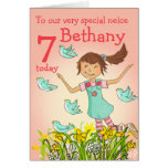 """""""Spring's in the air"""" neice birthday brunette card"""