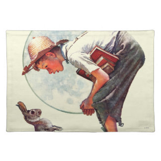 Springtime, 1935 boy with bunny cloth placemat