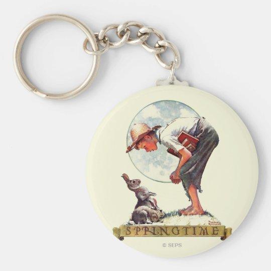 Springtime, 1935 boy with bunny keychain
