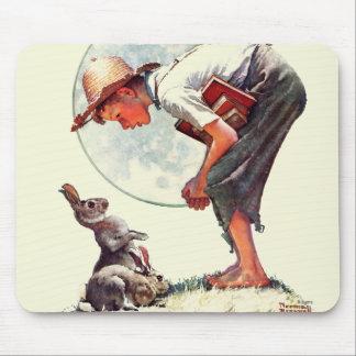 Springtime, 1935 boy with bunny mouse pad