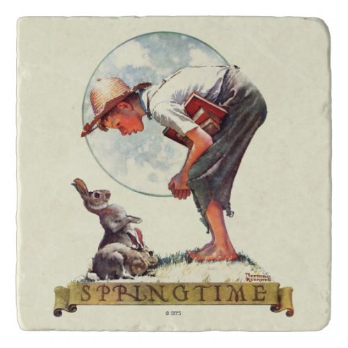 Springtime, 1935 boy with bunny trivet