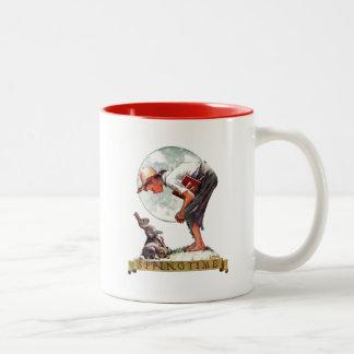 Springtime, 1935 boy with bunny Two-Tone coffee mug