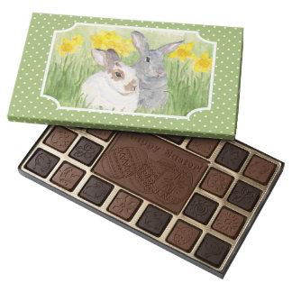 Springtime Bunnies in Flowers 45 Piece Box Of Chocolates