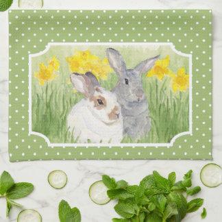 Springtime Bunnies in Flowers Hand Towel