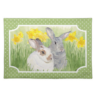 Springtime Bunnies in Flowers Placemat