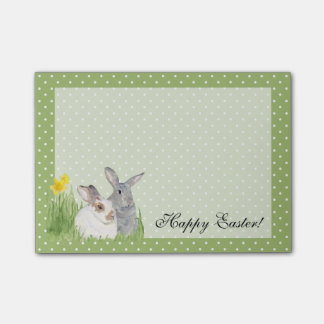 Springtime Bunnies in Flowers Post-it Notes